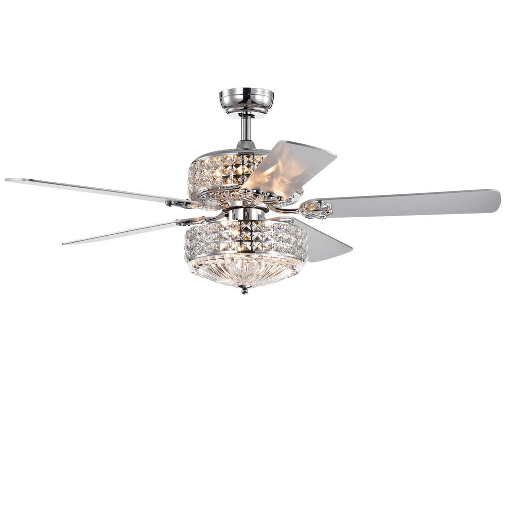 Warehouse of Tiffany Germane 52 in. Indoor Chrome Remote Controlled Ceiling Fan with Light Kit