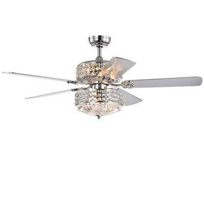 Germane 52 in. Indoor Chrome Remote Controlled Ceiling Fan with Light Kit