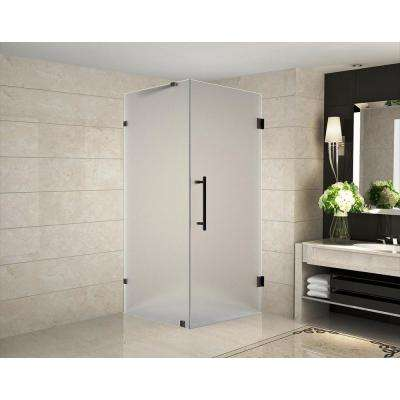 Aquadica 36 in. x 36 in. x 72 in. Frameless Hinged Square Shower Enclosure with Frosted Glass in Oil Rubbed Bronze
