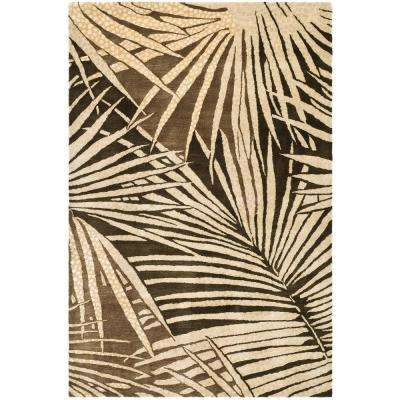 Martha Stewart Palms Coconut/Brown 5 ft. 6 in. x 8 ft. 6 in. Area Rug