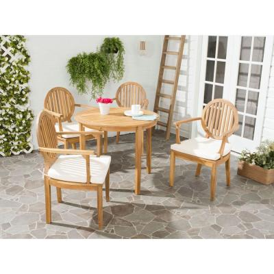 Chino Teak Brown 5-Piece Wood Outdoor Dining Set with Beige Cushion