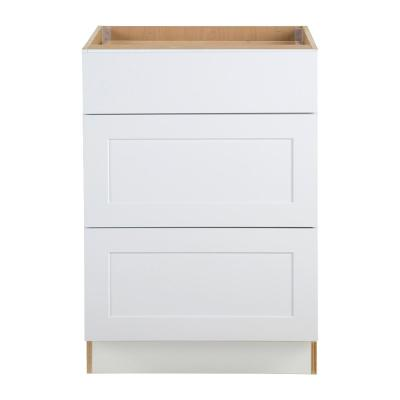 Cambridge Shaker Assembled 24x34.5x24.5 in. Base Cabinet with 3-Soft Close Drawers in White