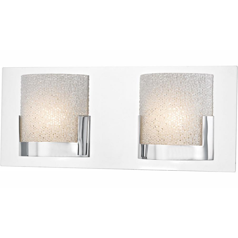 Ophelia 2-Light Chrome and Clear Glass LED Vanity Light