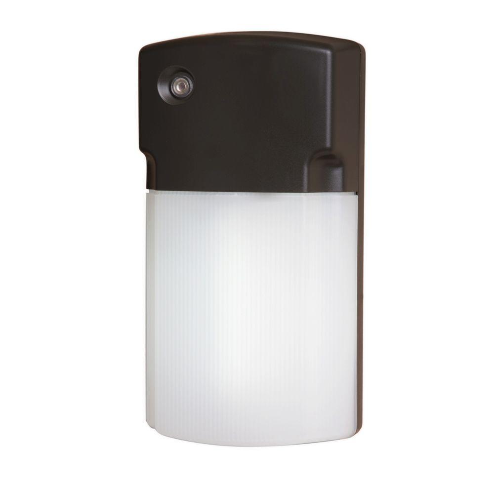 26-Watt Bronze Outdoor Fluorescent Wall Pack Light with Dusk to Dawn Photocell Sensor