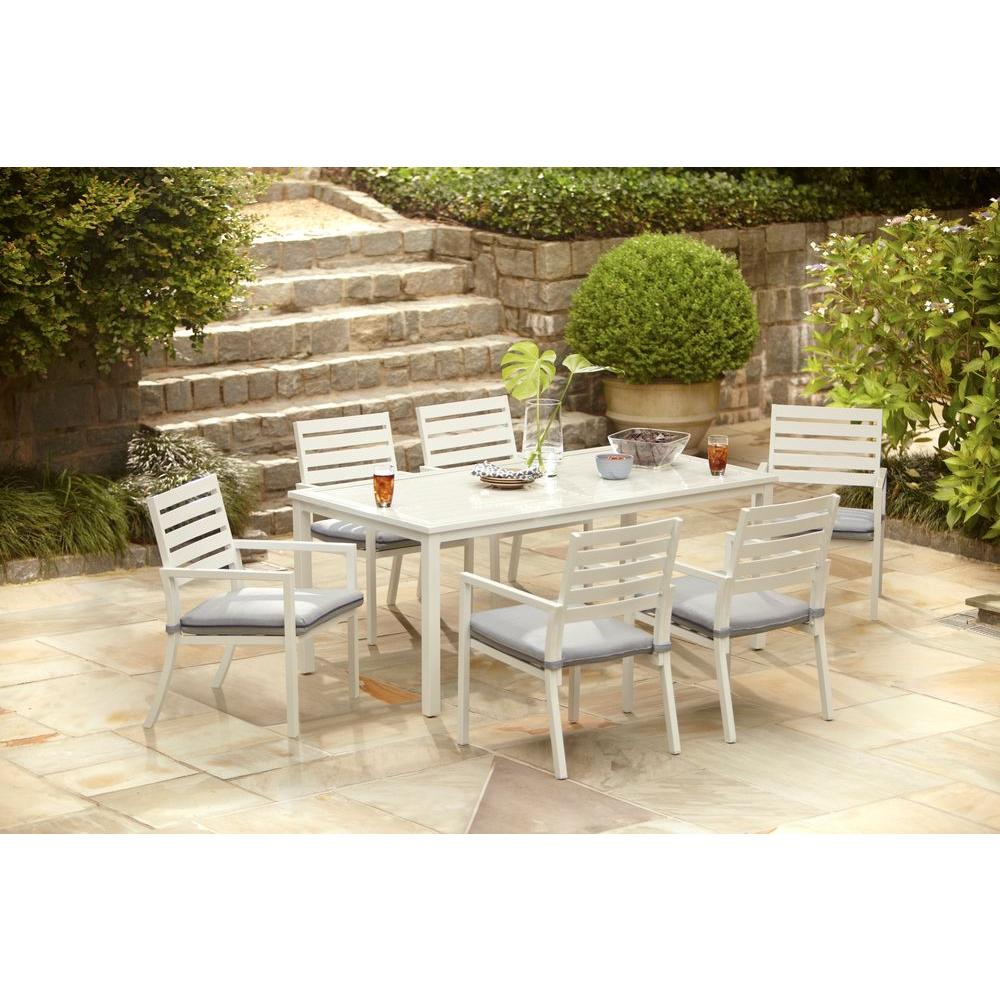 Hampton Bay Blue Springs 7 Piece Patio Dining Set With Blue Dot  Cushions AC 2014 17 7   The Home Depot