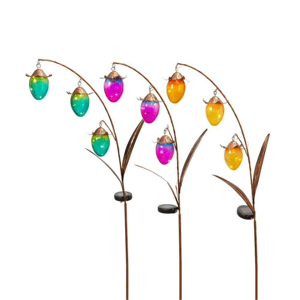 48 in. Tall Solar-Powered Gold Metal Flower Yard Stakes with Colored