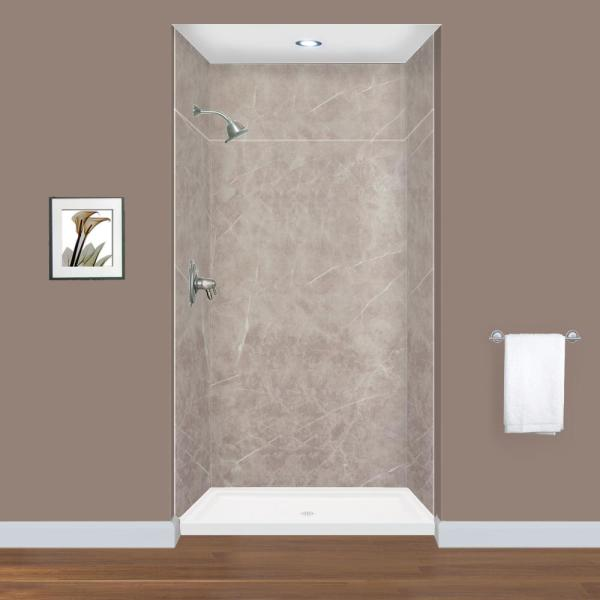 Transolid Expressions 36 In X 42 In X 96 In 4 Piece Easy Up Adhesive Alcove Shower Wall Surround In Dover Stone Ewkx423696 42 The Home Depot