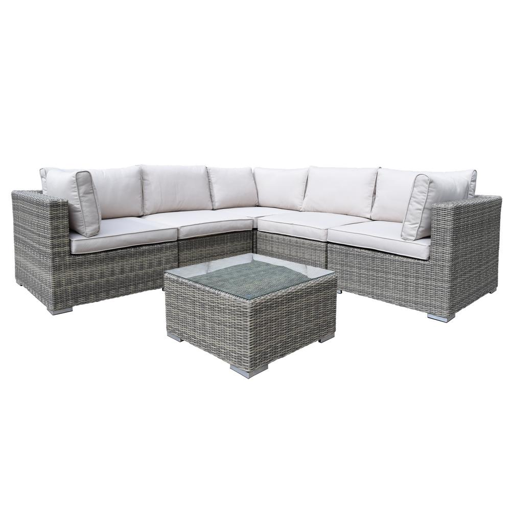 Bon Borneo Modular 6 Piece Wicker Patio Sectional Seating Set With Oatmeal  Cushions HD93010 6 13CSBG BG   The Home Depot