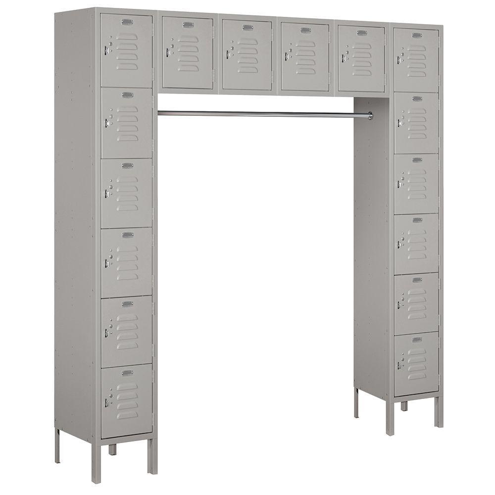 66000 Series 72 in. W x 78 in. H x 18 in. D Box Style Bridge Metal Locker Unassembled in Gray