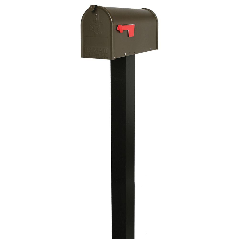 Everton Textured Bronze Mailbox and Black Steel Post