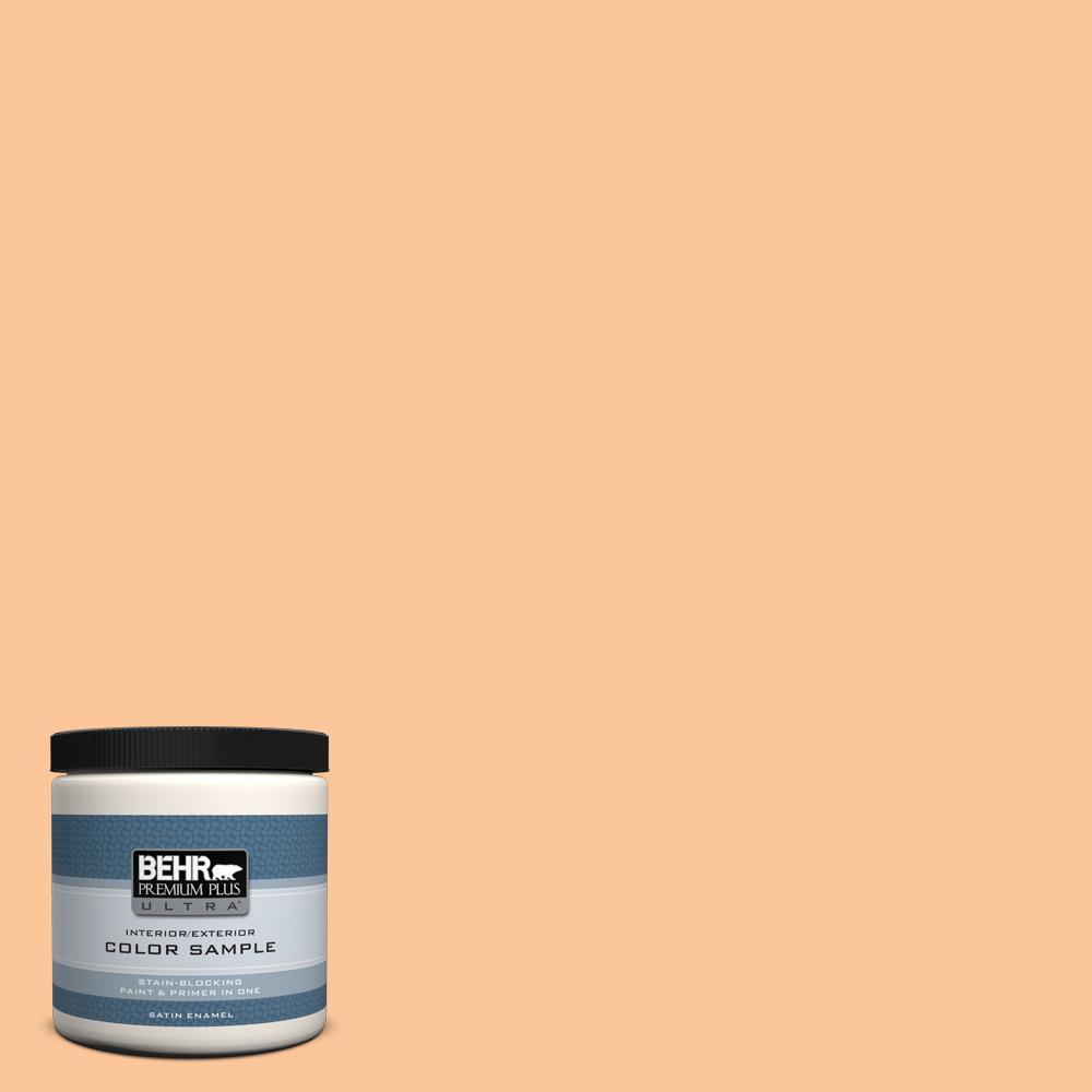 BEHR Premium Plus Ultra 8 oz. #P230-4 Citrus Punch Satin Enamel Interior/Exterior Paint and Primer in One Sample