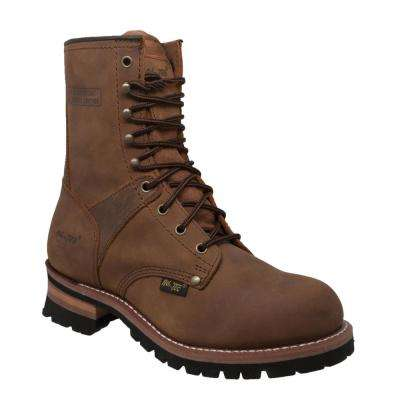 Men's Wide 9.5 Brown Crazy Horse Leather Logger Boot