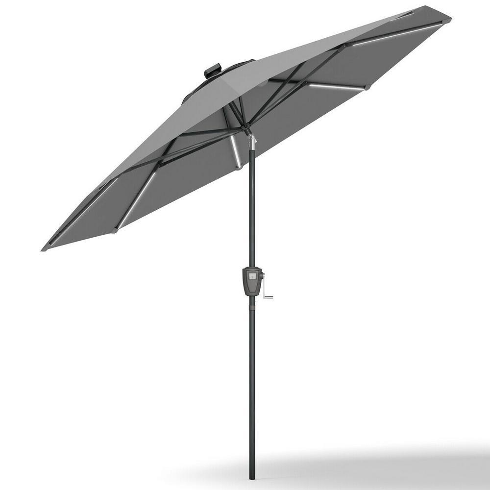 Costway 9 Ft Solar Patio Umbrella Led