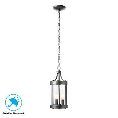 Caged Aged Iron Outdoor 2-Light Hanging Lantern