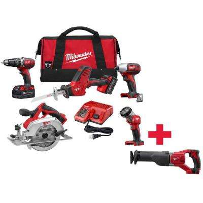 M18 18-Volt Lithium-Ion Cordless Combo Kit (5-Tool) W/ Free M18 Sawzall