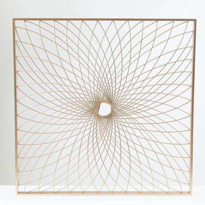 24 in. Metal Gold Finish Starburst Square Wall Dcor