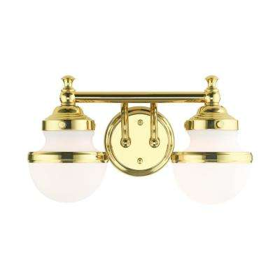 Oldwick 5.125 in. 2-Light Polished Brass Vanity Light with Satin Opal White Glass Shades