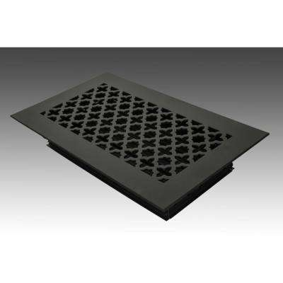 12 in. x 6 in. Black Poweder Coat Steel Floor Vent with Opposed Blade Damper