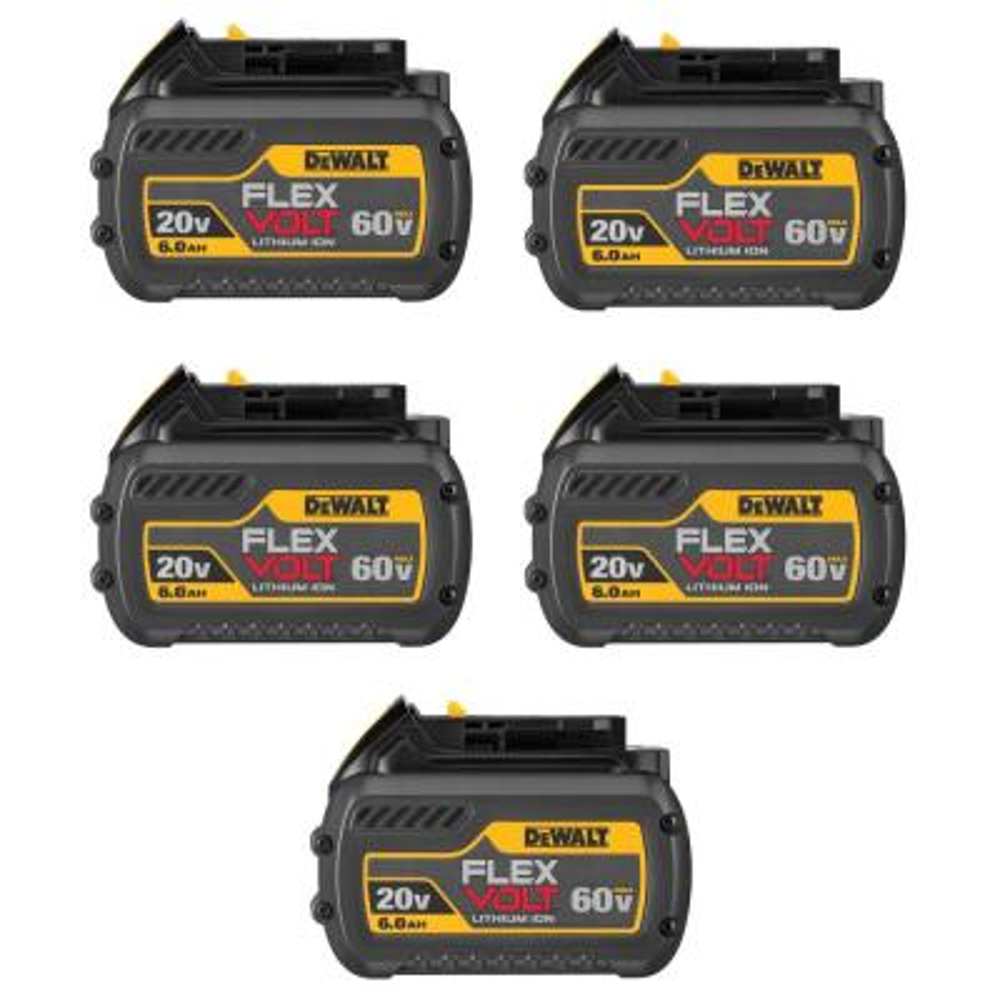 FLEXVOLT 20-Volt/60-Volt MAX Lithium-Ion 6.0Ah Battery Pack (5-Pack)