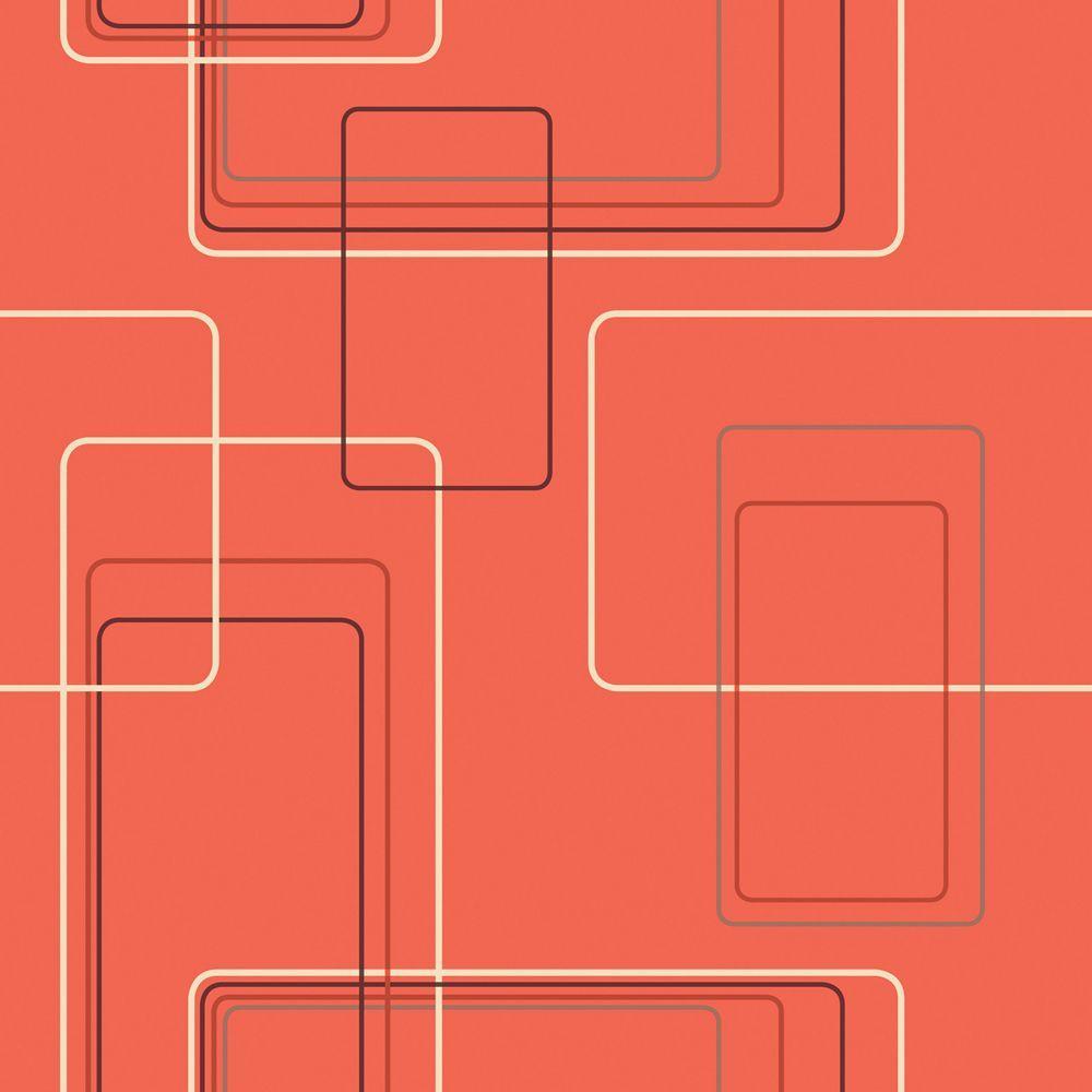 The Wallpaper Company 8 in. x 10 in. Orange Retro Geometric Rectangles Wallpaper Sample-DISCONTINUED