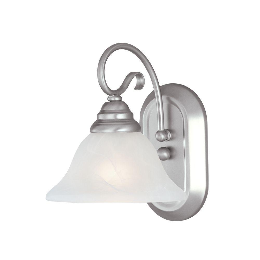 Providence 1-Light Brushed Nickel Incandescent Bath Vanity Light