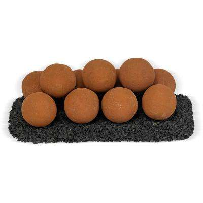 18 in. x 6 in. Mesa Red Uni M Set, 11-4 in. Lite Stone Balls with 5 lbs. Small Lava Rock