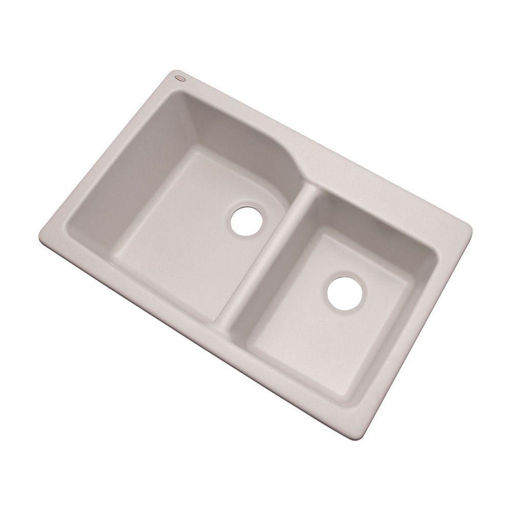 Grande Dual Mount Composite Granite 34 in. Double Bowl Kitchen Sink