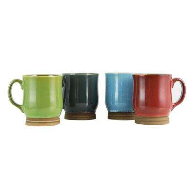 Osborn 18 oz. Assorted Color Mug with Raw Foot (Set of 4)