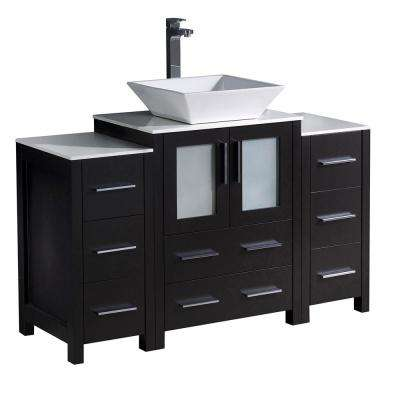 Torino 48 in. Bath Vanity in White with Ceramic Vanity Top in White with White Basin and 2 Side Cabinets