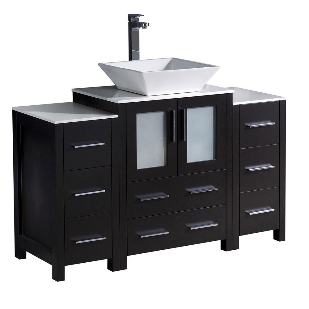 Torino 48 in. Bath Vanity in White with Ceramic Vanity Top in White with White Basin and 2 Side Cabinets