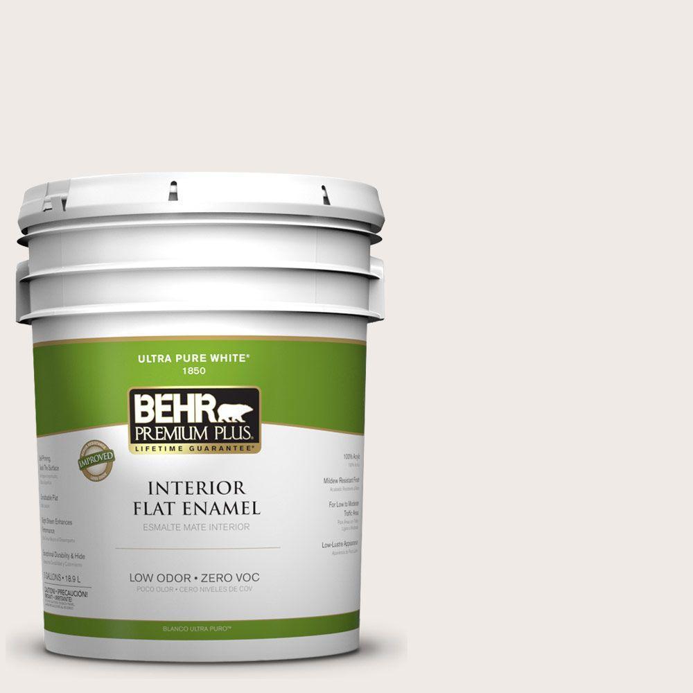 BEHR Premium Plus 5-gal. #ECC-56-2 White Feather Zero VOC Flat Enamel Interior Paint-DISCONTINUED