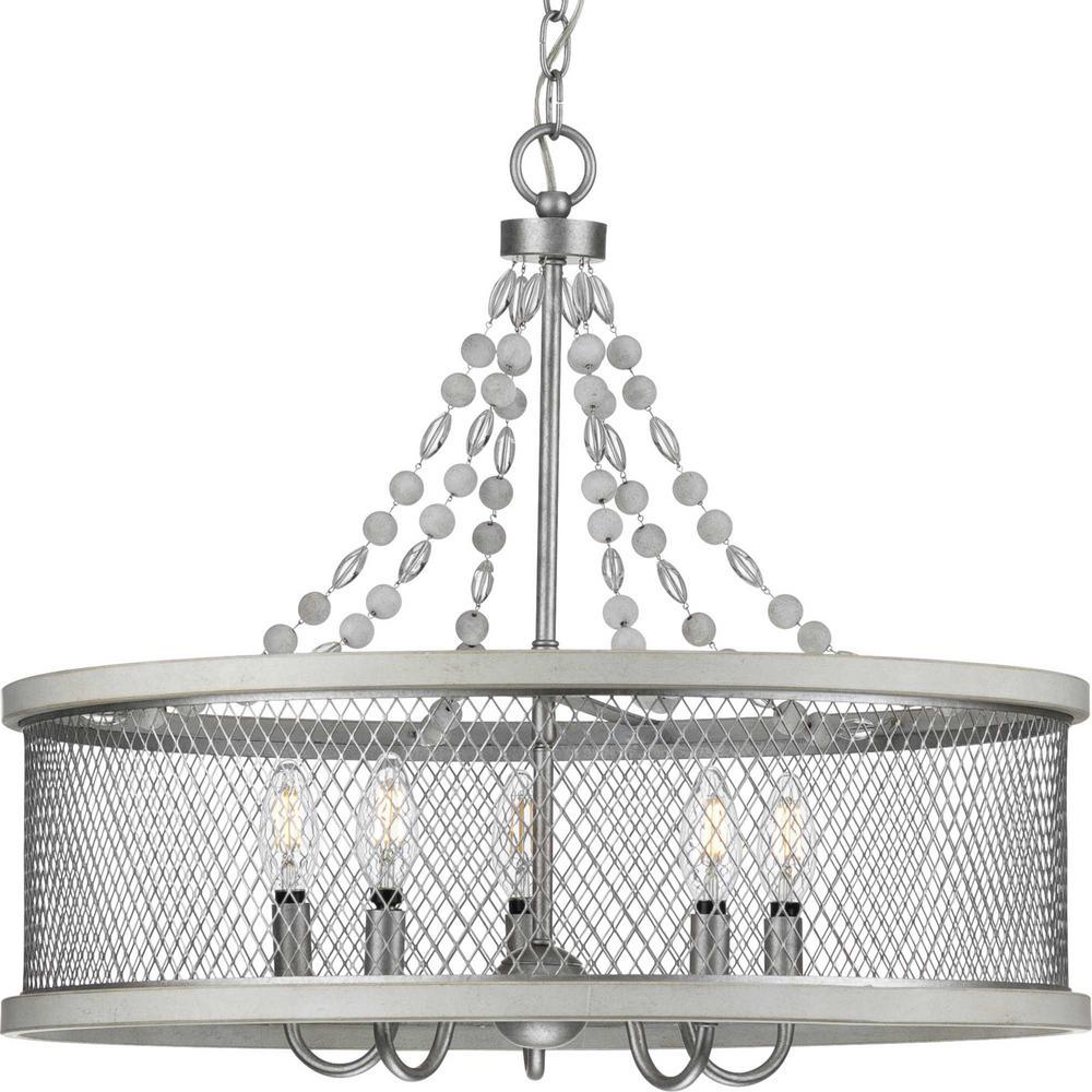 Austelle Collection 5-Light Galvanized Chandelier