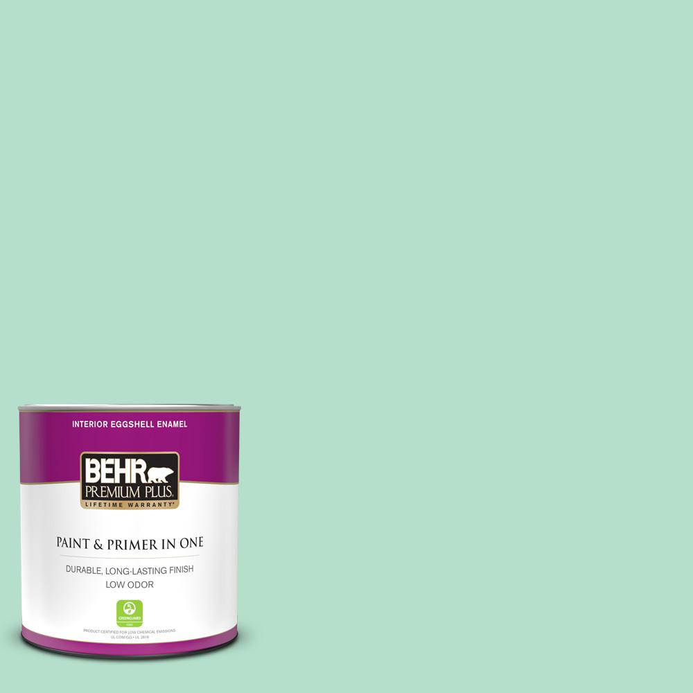 Behr Premium Plus 1 Qt Mq4 18 Free Spirit Eggshell Enamel Low Odor Interior Paint And Primer In One 205004 The Home Depot