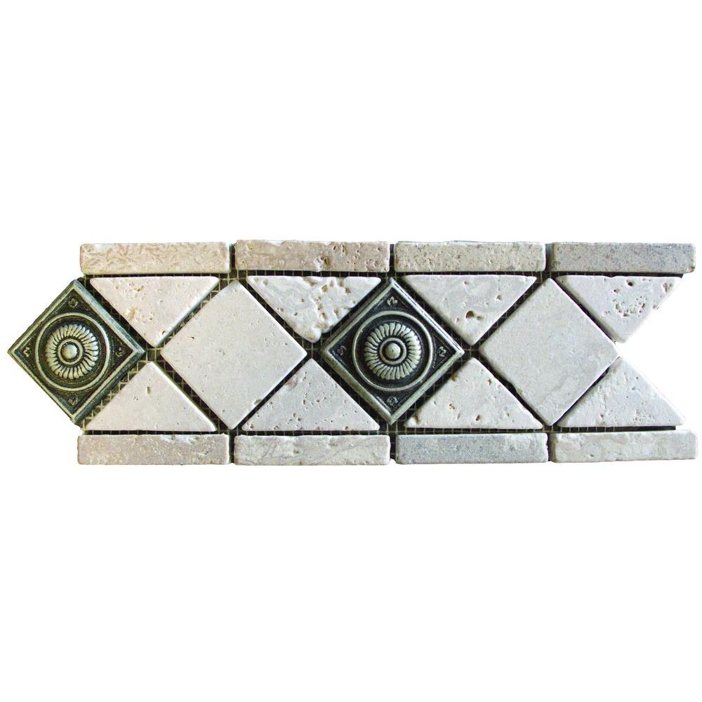 MS International Noche/Chiaro Pewter Scudo 4 in. x 12 in. Travertine/Metal Listello Floor and Wall Tile