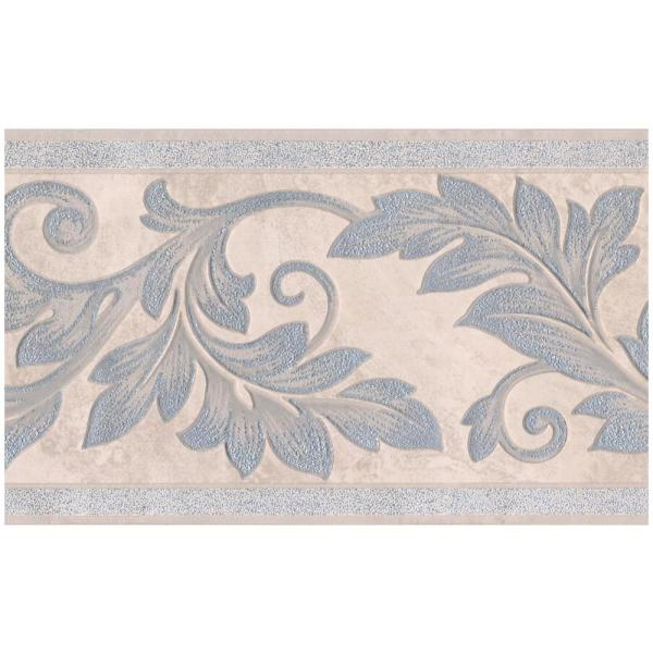 Silver Sparkling Damask Vines On Beige Abstract Prepasted Wallpaper Border