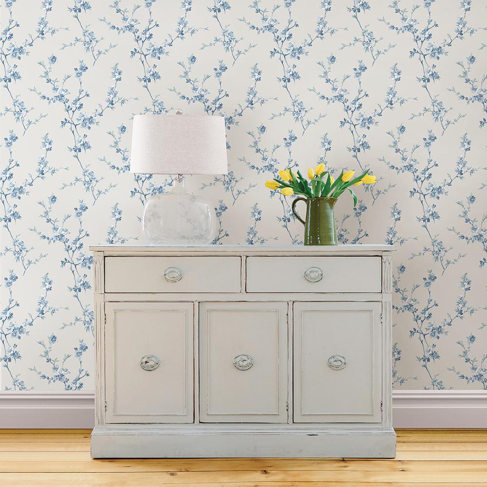 Cherry Blossom Light Blue Trail Light Blue Wallpaper Sample