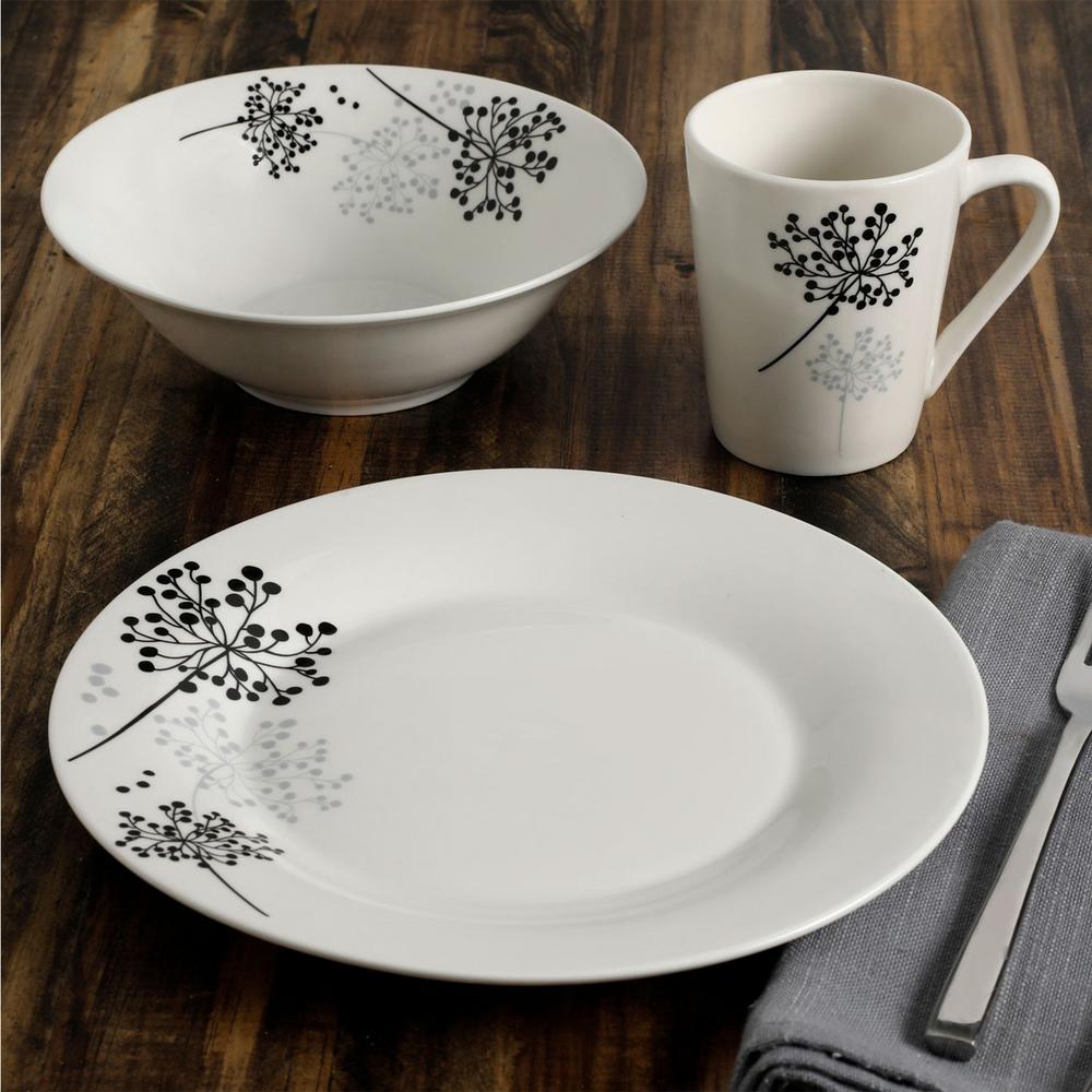 Netherwood 12-Piece Casual White/Black/Grey Ceramic Dinnerware Set (Service for 4)
