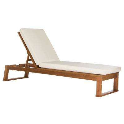 Solano Natural Brown Adjustable Wood Outdoor Lounge Chair with Beige Cushion