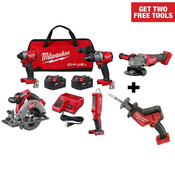M18 FUEL 18-Volt Lithium-Ion Brushless Cordless Combo Kit (4-Tool) W/ Free Grinder & HACKZALL