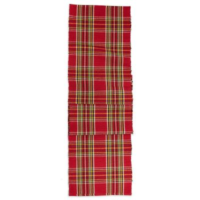 Fireside Tartan Plaid 13 in. x 72 in. Red Plaid Cotton Table Runner