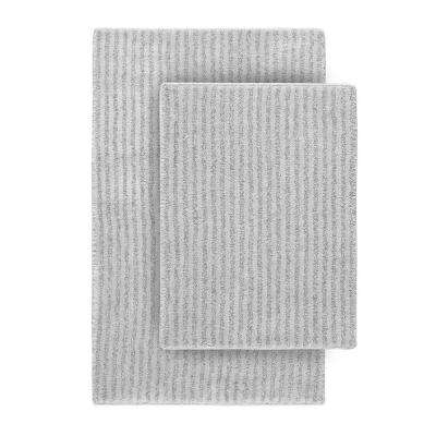 Sheridan Platinum Gray 21 in. x 34 in. Washable Bathroom 2-Piece Rug Set