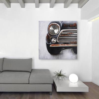 """Mini"" American Automobile Heavily Textured Metallic Hand Painted Canvas Wall Art"