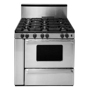 gas range in stainless steel