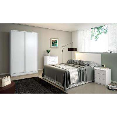 Chelsea 2.0 - 70.07 in. W White Double Basic Armoire with 3 Drawers and 2 Sliding Doors