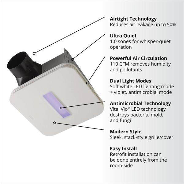 surfaceshield vital vio powered exhaust vent fan w/ led white light and  antibacterial violet light 110 cfm