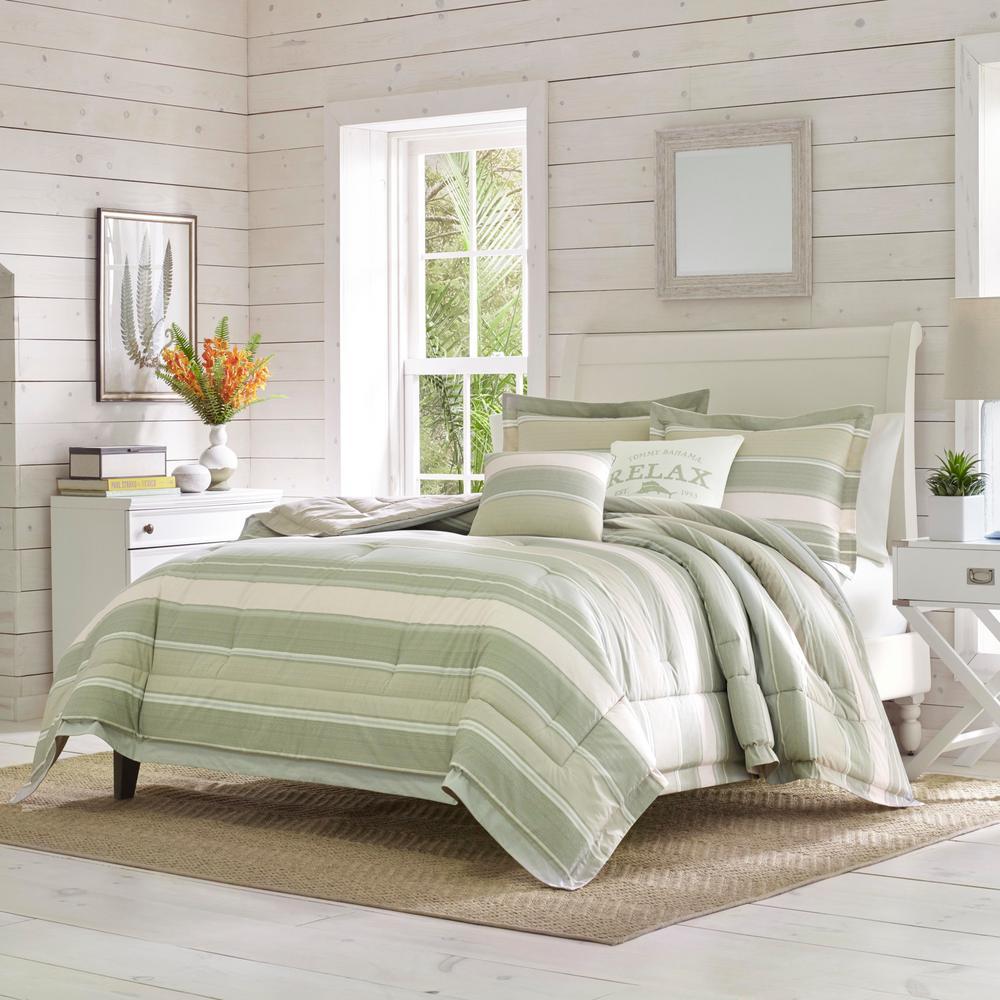 Serenity Green Cotton 5-Piece Queen Comforter Set