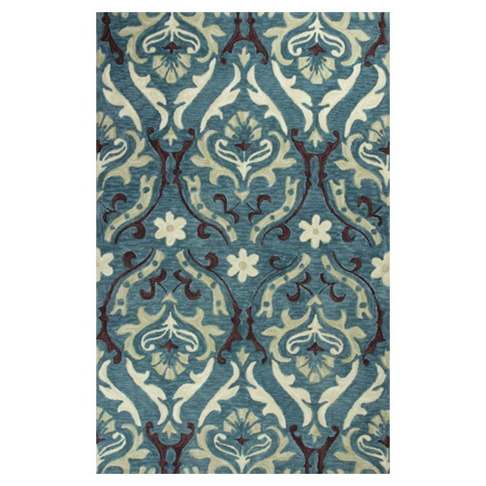 Kas Rugs Royal Damask Teal/Cream 3 ft. 3 in. x 5 ft. 3 in. Area Rug