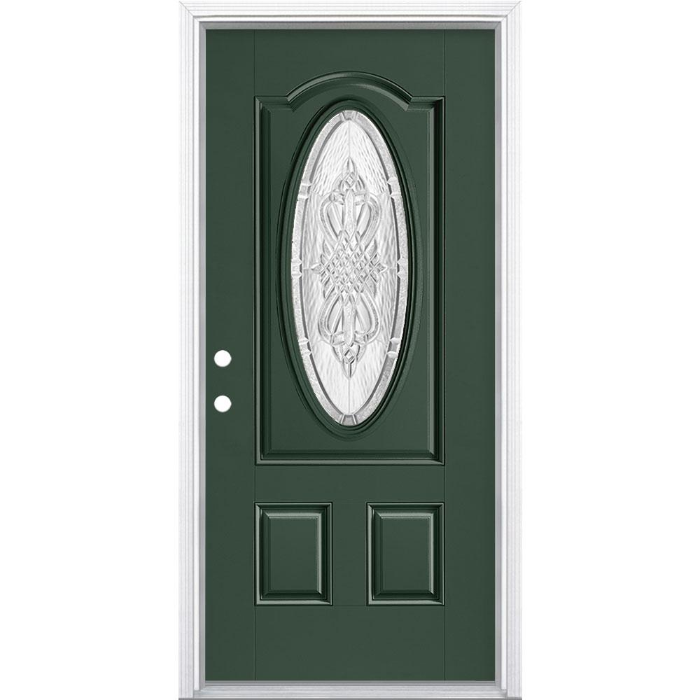 Masonite 36 in. x 80 in. New Haven 3/4 Oval Right-Hand Painted Smooth Fiberglass Prehung Front Door w/ Brickmold, Vinyl Frame