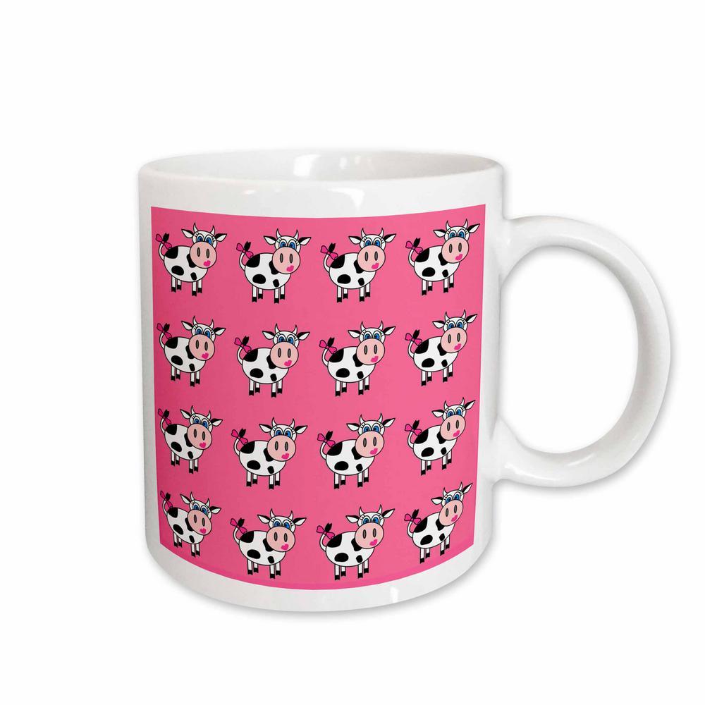 Janna Salak Designs Farm Animals 11 oz. White Ceramic Happy Cow Girl Pink Print Mug