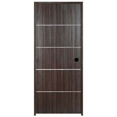 36 in. x 80 in. Grey Oak Finished with Metal Stripes Right Hand Solid Core Composite Single Prehung Interior Door